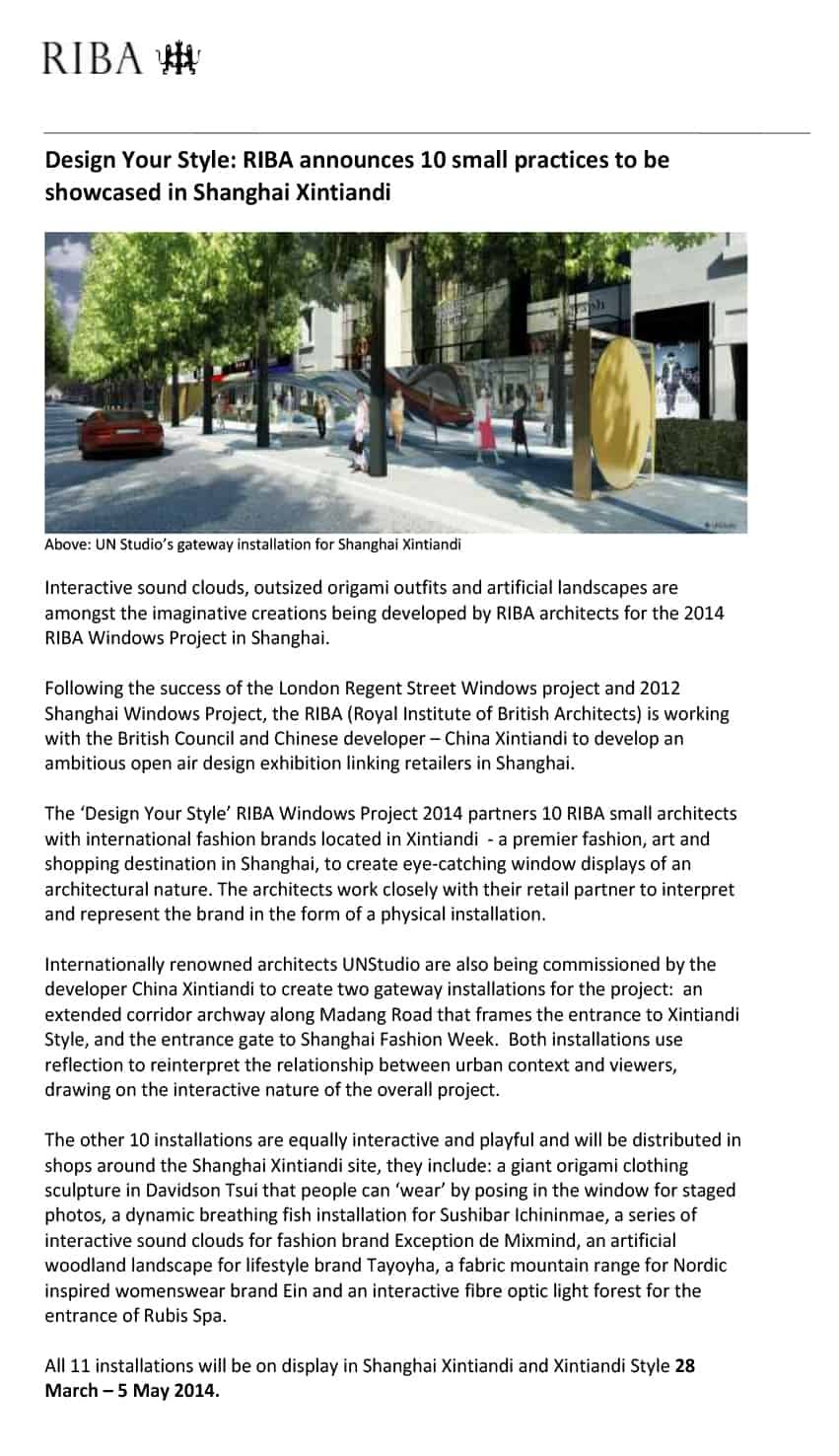 The regent street windows project 2012 - The Riba Windows Project At Shanghai Xintiandi Partners Riba Architects With International Fashion Brands Located In Xintiandi To Create A Huge Public